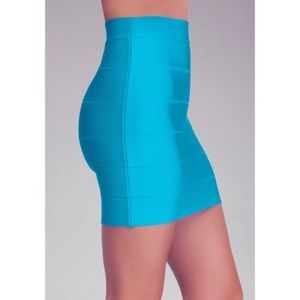 NWT Bebe Bandage Bodycon turquoise Mini Skirt
